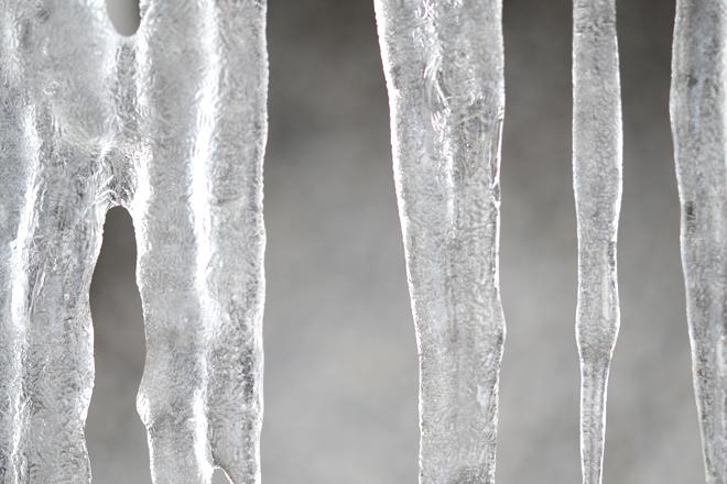 白山命水採水地に出来た氷柱